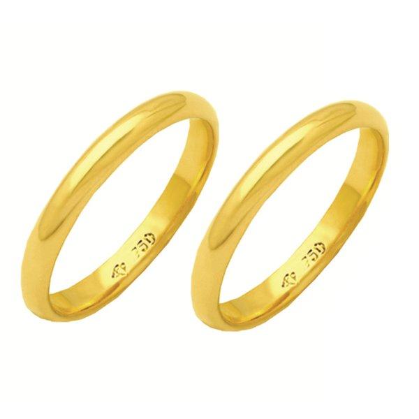 Alianças de casamento e noivado em ouro 18k 750 abaulada e anatômica 3 mm