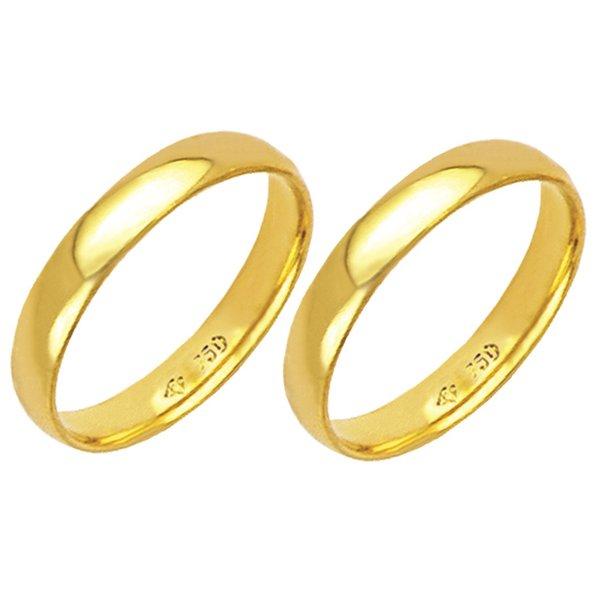 Alianças de casamento e noivado em ouro 18k 750 anatômicas 3 mm