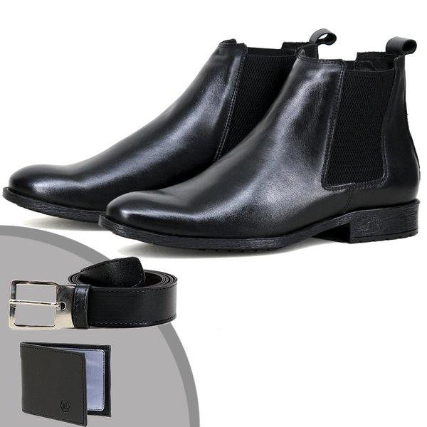 Chelsea Boots Social ESCRETE Liso Lançamento 771 Napa Preto