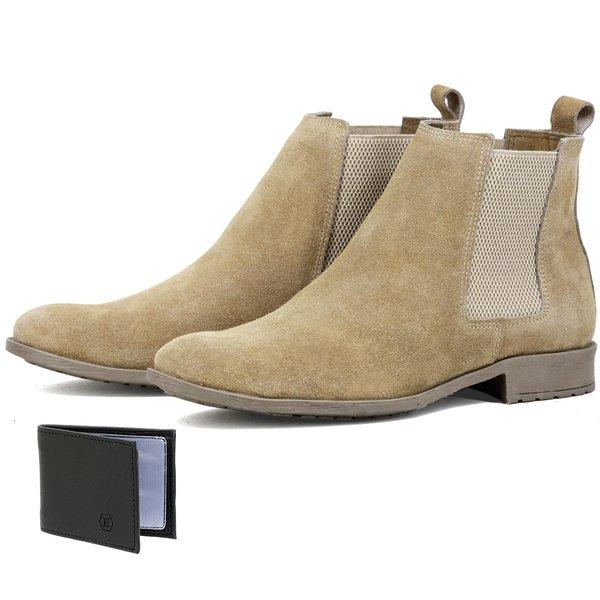 Bota Chelsea Boots Lançamento ESCRETE 777 Areia Em couro Legitimo