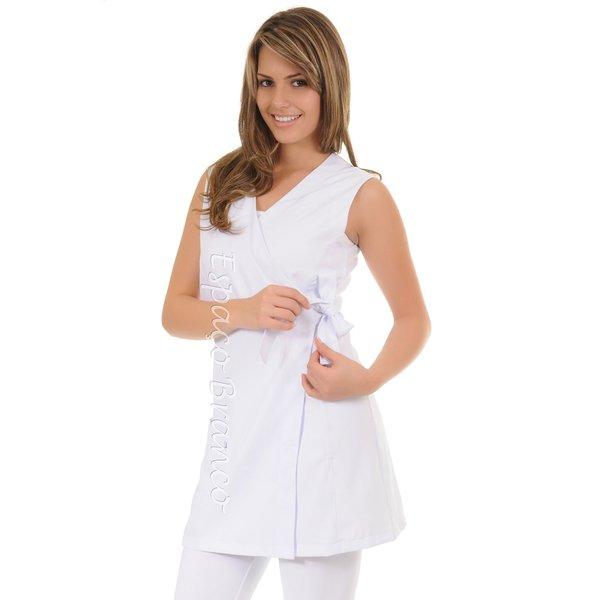 Jaleco Feminino Acinturado Transpassado em Microfibra Gola V Sem Manga Branco