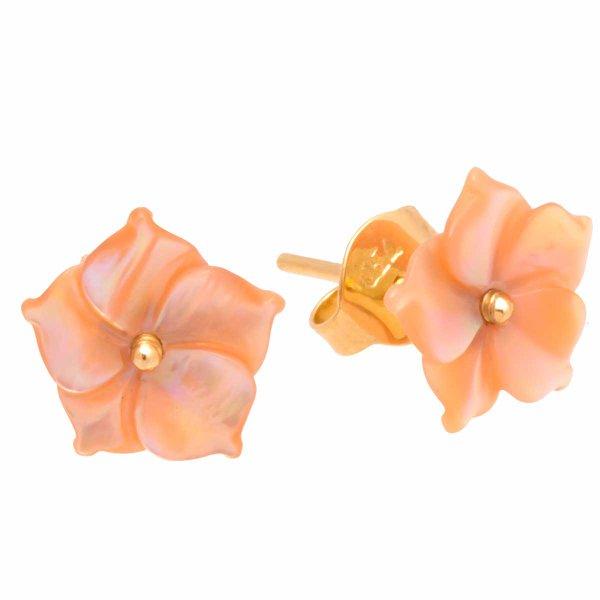 Brinco De Ouro 18k Flor De Madre Pérola Rosa De 10mm