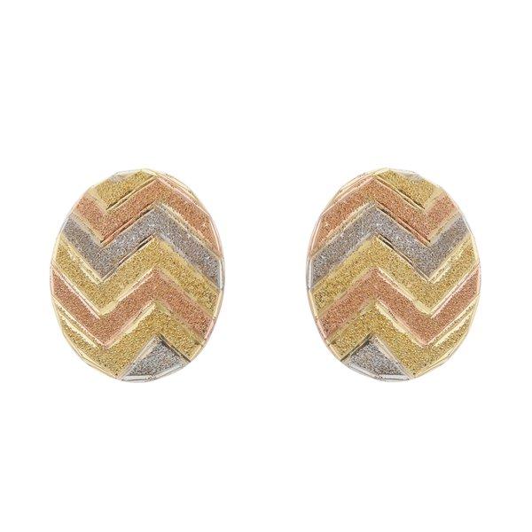 Brinco em Ouro 18K Botão Zigzag Tricolor diamantado