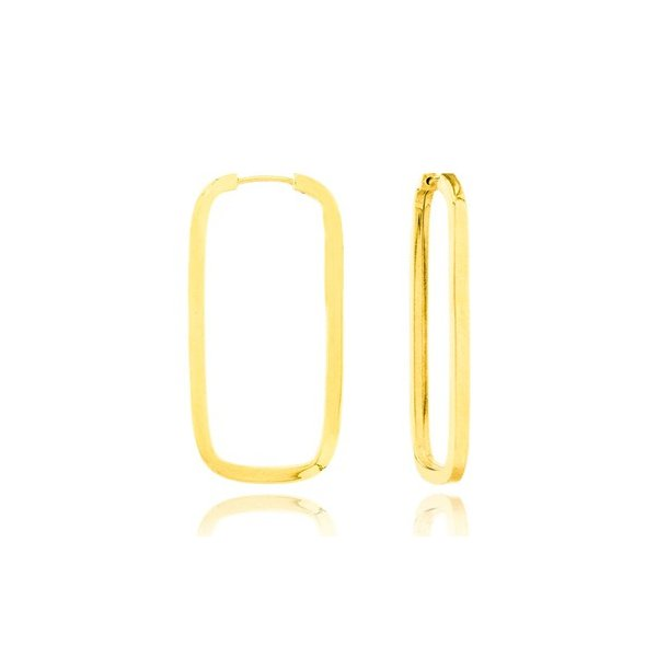 Brinco De Ouro 18k Argola Retangular Com 24mm