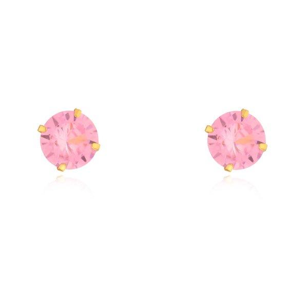Brinco De Ouro 18k Com Pedra De Zircônia Rosa De 6mm
