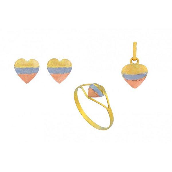Conjunto Anel, Brinco e Pingente De Ouro 18k Coração Tricolor