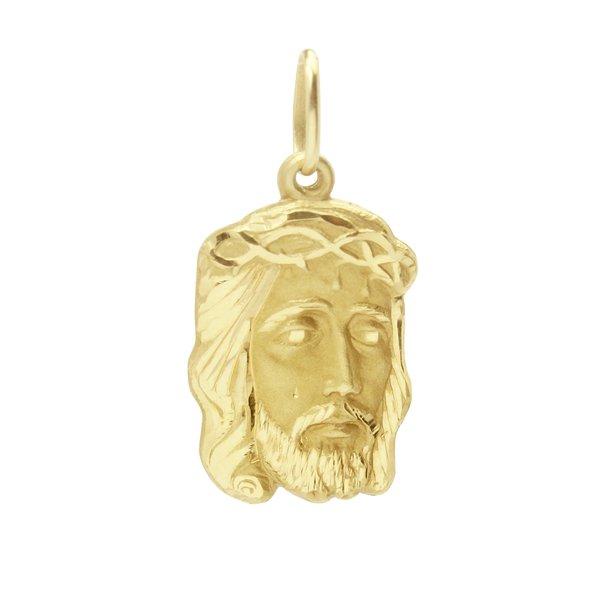 Pingente em Ouro 18K Face de Cristo de 21mm