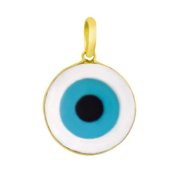 Pingente em Ouro 18k Olho Grego em Madrepérola Redondo de 20mm