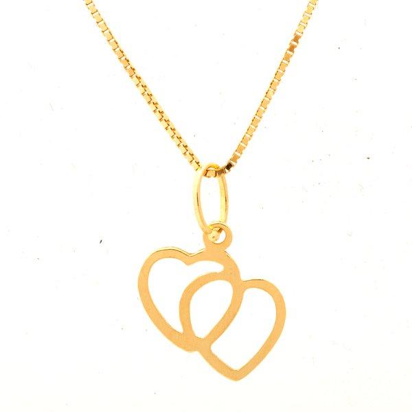 Corrente De Ouro 18k Veneziana De 40cm Com Pingente Coração Duplo
