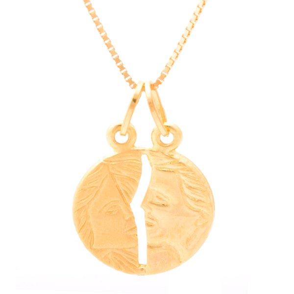 Corrente em Ouro 18K Veneziana de 40cm com Pingente Cara Metade