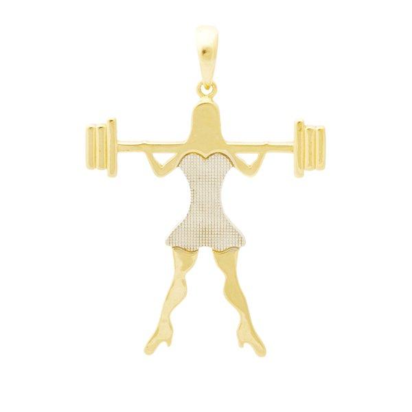 Pingente em Ouro 18K Menina Crossfit
