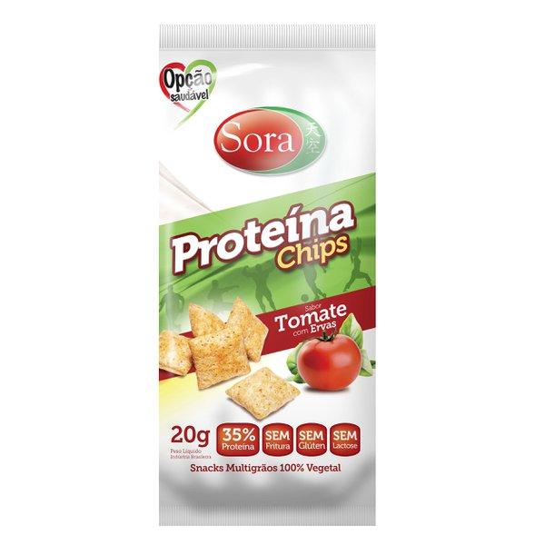 Proteína Chips sabor tomate com ervas Sora display 10 x 20g