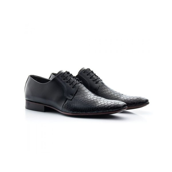 Sapato Social Masculino Couro Croco Preto 306