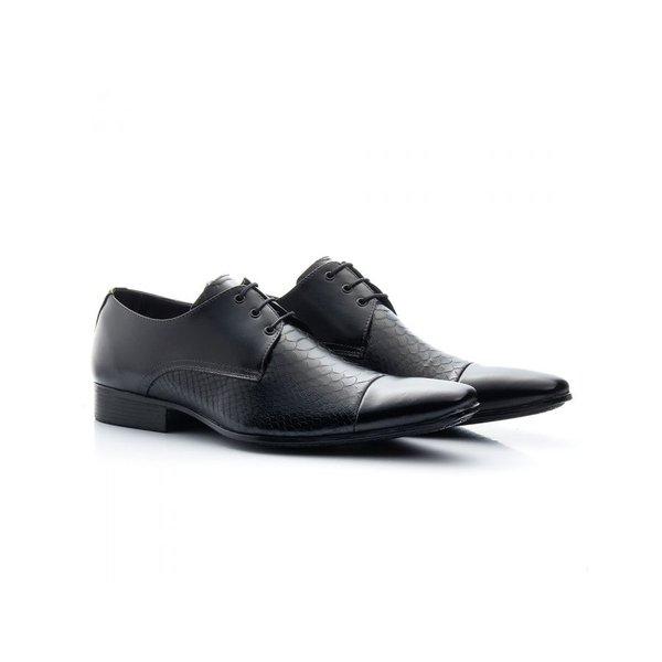 Sapato Social Masculino Couro Croco Preto 307