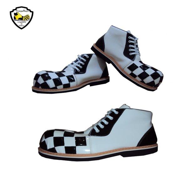 Sapato de Palhaço Quadriculado Branco/Preto Ref 603