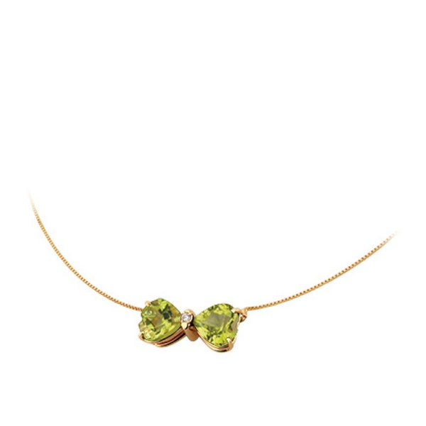 Gargantilha Ping. Laço de Peridoto em Ouro 18K com Diamantes