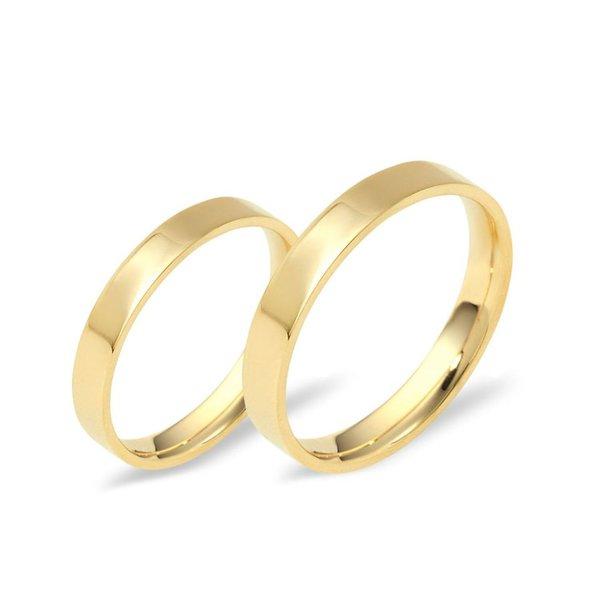 Aliança Reta com 3,5 Milímetros em Ouro 18k - Noivado e Casamento