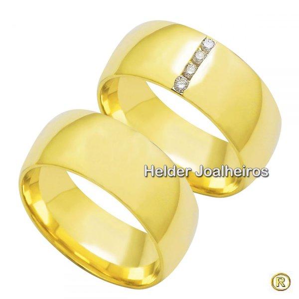 Aliança de Casamento 8,0 Milímetros - com Diamantes - Ouro 18k