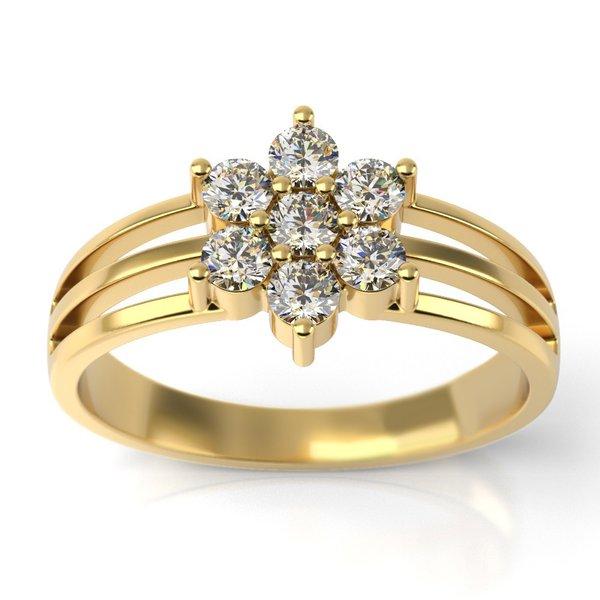Anel Solitário Ouro 18k Vazado Flor com Diamantes
