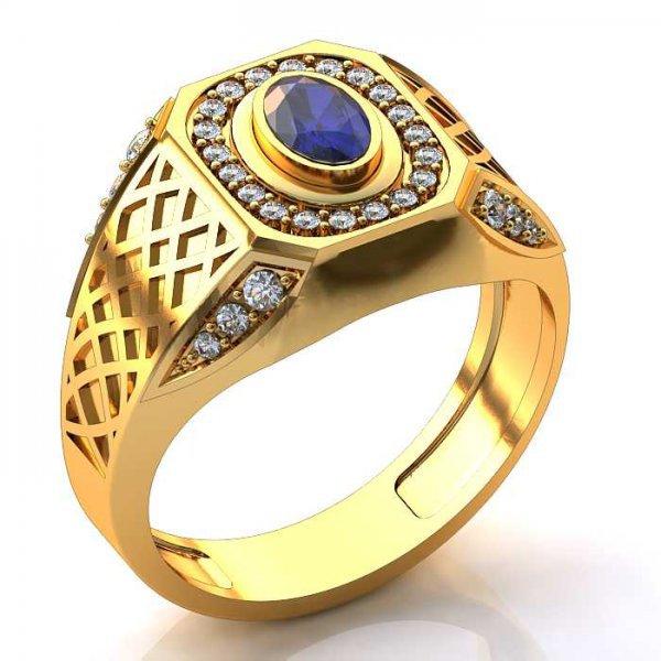 Anel de Formatura com Diamantes com Pedra Natural