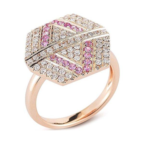Anel Hexagon Cravejado c/Diamantes e Turmalina Rosa