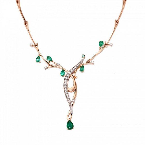 Gargantilha em Ouro 18k Com Diamantes e Esmeraldas