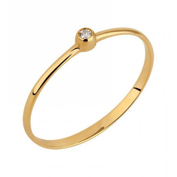 Solitário Ouro 18k Aro Fino Ponto de Luz com Diamante