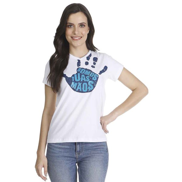 Camiseta Baby Look Somos Tuas Mãos Gel