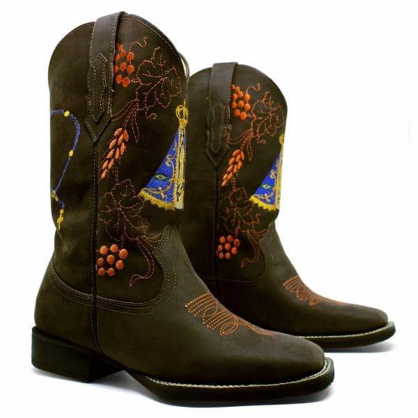 Bota Texana Feminina Bico Quadrado Couro Crazy Horse Cafe