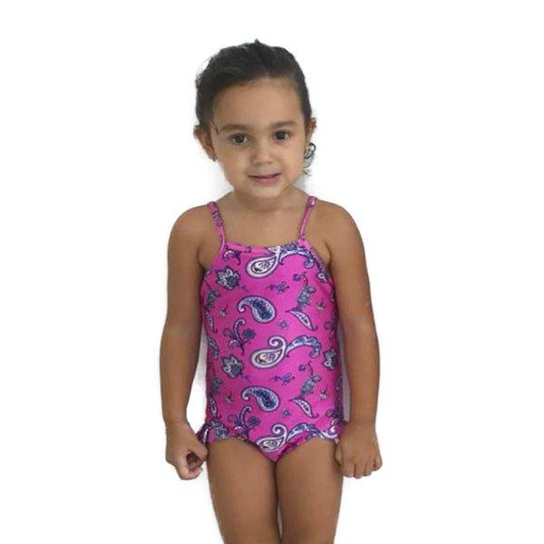 Paisley Rosa - Maiô Infantil