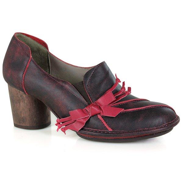 Sapato Em Couro Lolla Alto Bordô J.Gean