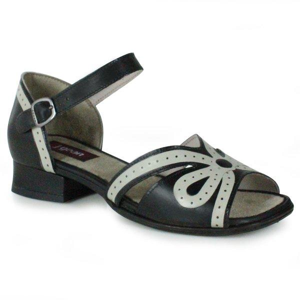 Sandália em Couro Agatha Preta J.Gean BJ0027-03