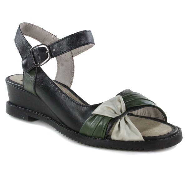 Sandália Em Couro Susan Anabela Médio Preta J.Gean