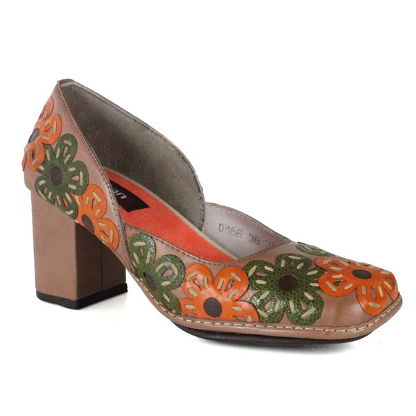 SAPATO EM COURO TAUPE J,GEAN AMOSTRA ST0156-09