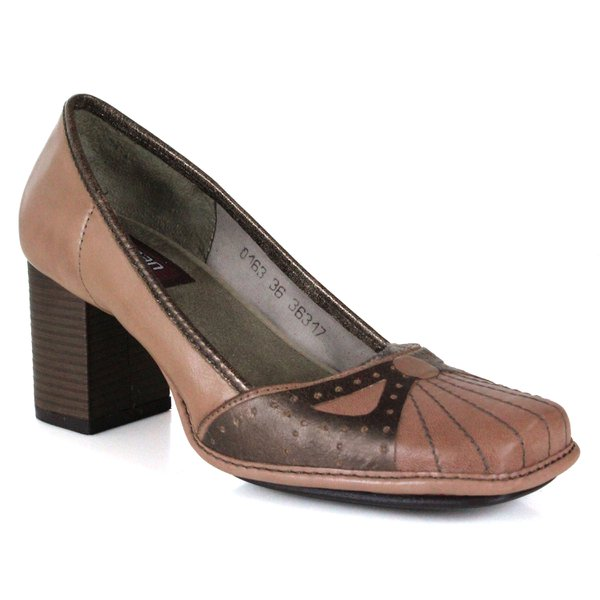 SAPATO EM COURO TAUPE J.GEAN AMOSTRA ST0163-09