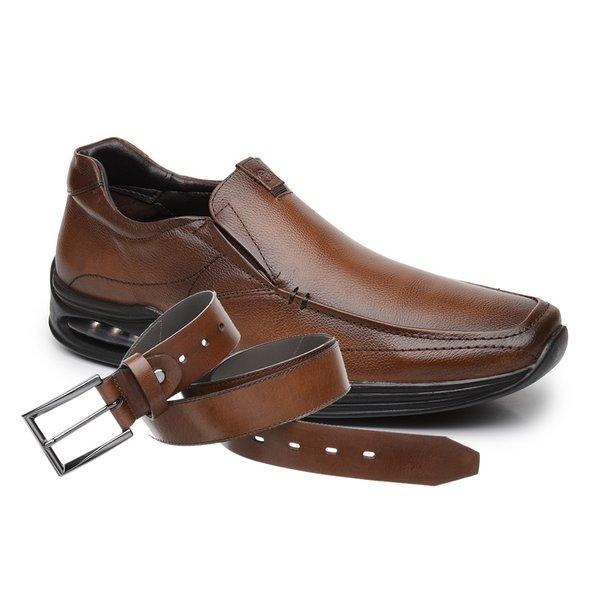 Sapato Jota Pe Marrom Air Life + Cinto de Couro Marrom