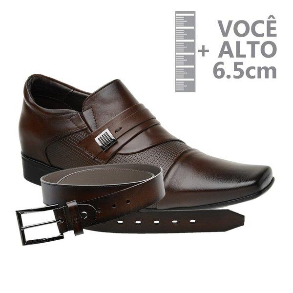 Sapato com Salto Interno Jota Pe Marrom Grow Air Conna + Cinto de Couro