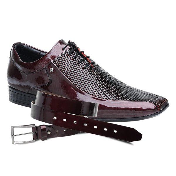 Sapato Social Jota Pe Verniz Vinho Boss + Cinto de Verniz