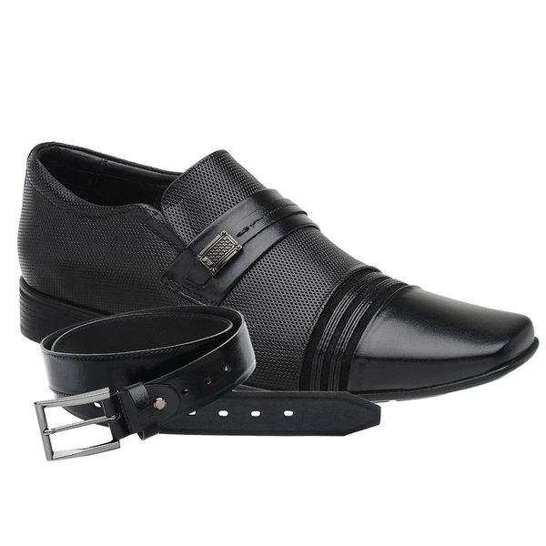 Sapato Social Jota Pe Preto Air Flexfeet + Cinto de Couro