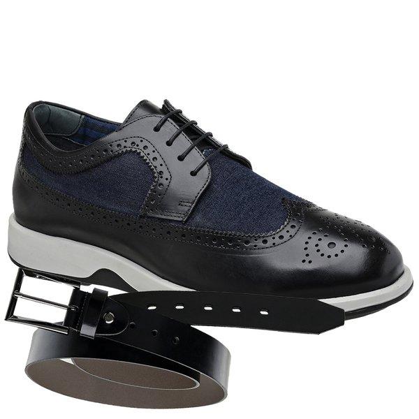 Sapato Casual Oxford Jota Pe Preto/Marinho Air Kingston + Cinto de Couro