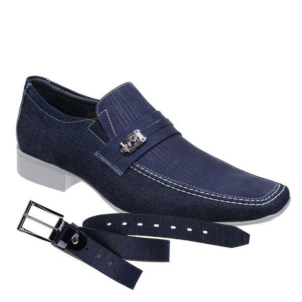 Sapato Casual Jota Pe Jeans Marinho Air +Cinto Jeans Marinho