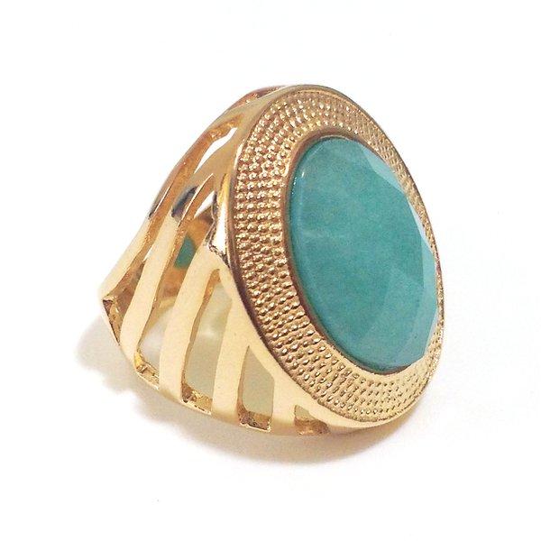 Anel Folheado a Ouro 18K com Jade Azul Facetada