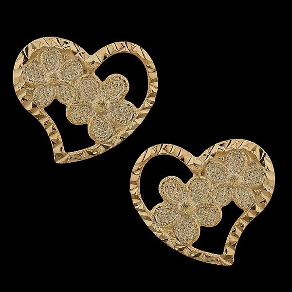 Brinco folheado à ouro 18k Coração Florido