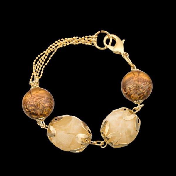 Pulseira folheada a ouro,com pedra natural cristal rutilado