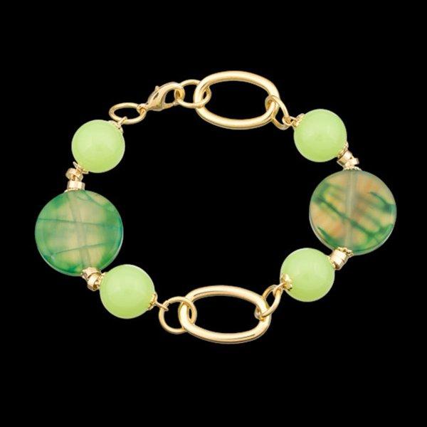 Pulseira folheada a ouro,com pedra natural jade.