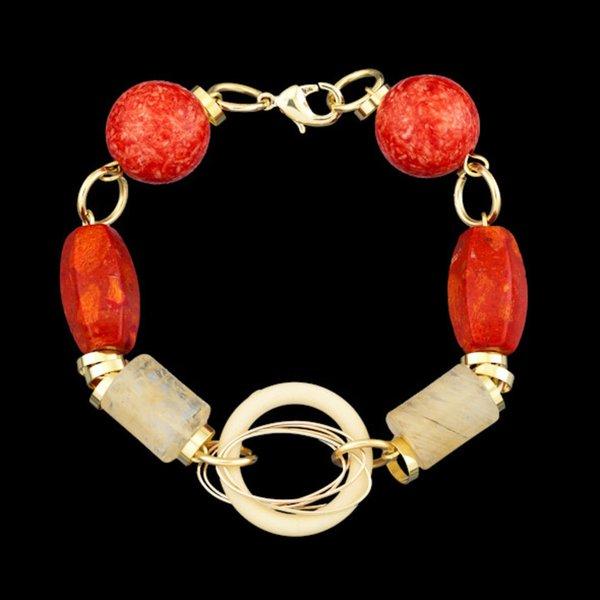 Pulseira folheada a ouro,com pedra natural coral e cristal rutilado.