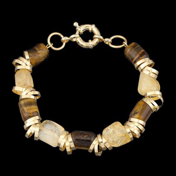 Pulseira folheada a ouro,com pedra natural citrino e olho de tigre.