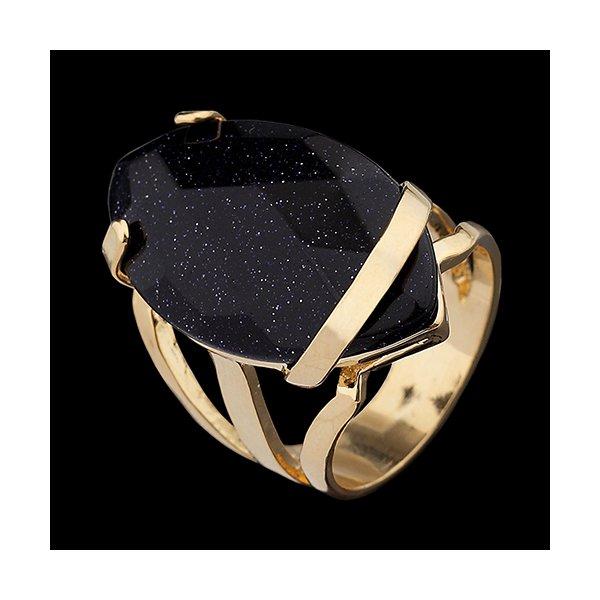 Anel Folheado à Ouro com Pedra Natural formato navete