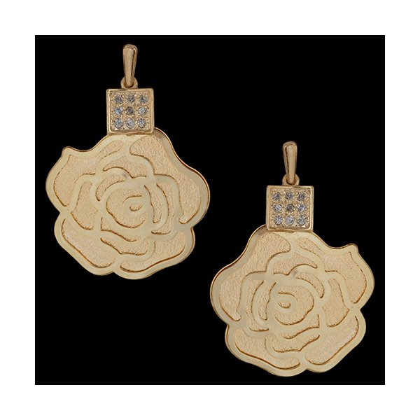 Brinco Folheado à Ouro 18K Rosas