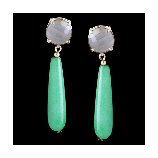 Brinco folheado à ouro 18k cristal jade